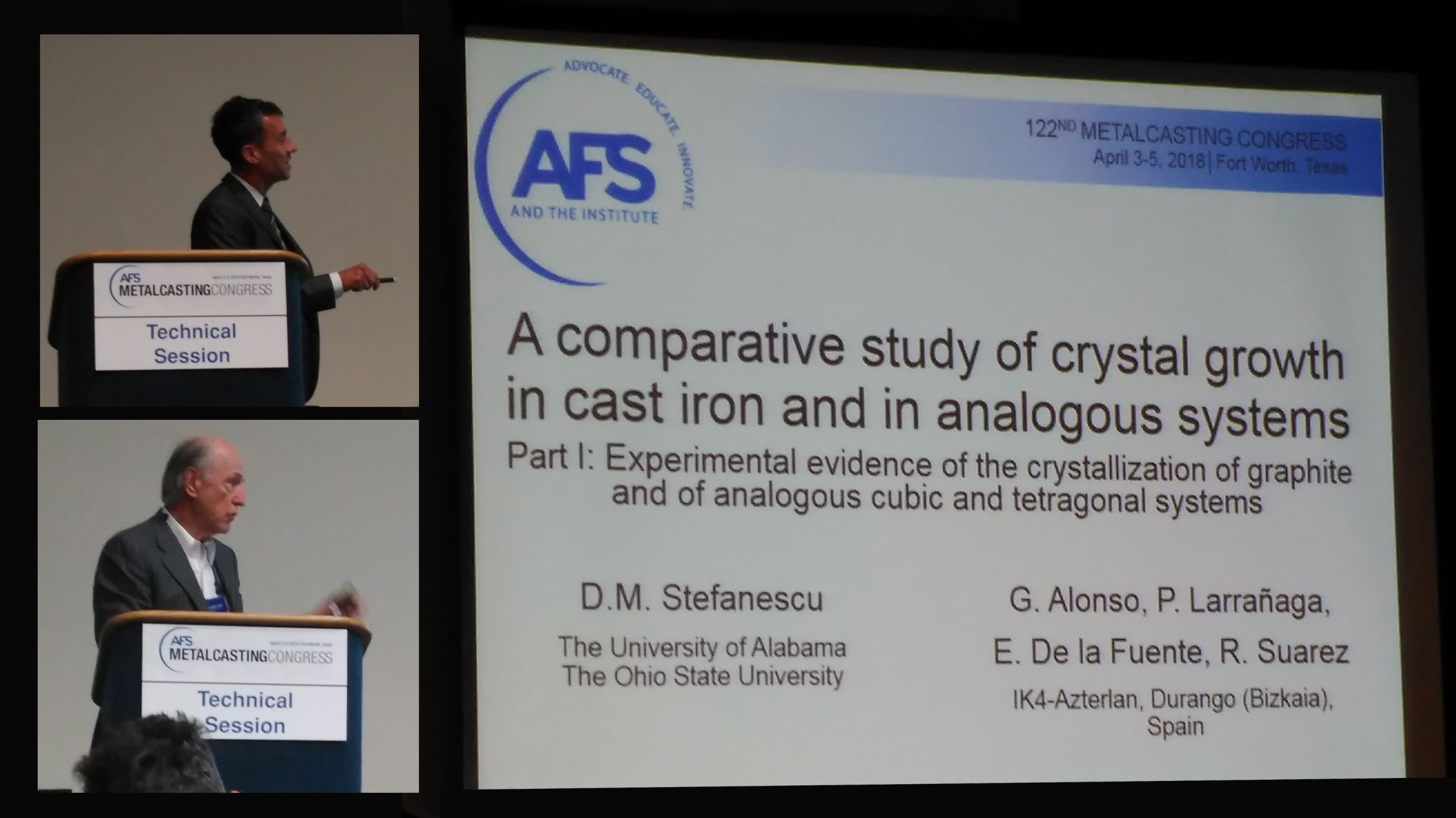 Stefanescu and Alonso at the AFS Metalcasting Congress 2018